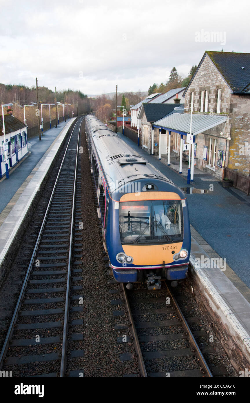 First ScotRail train 170451 (Class 170) arriving in Blair Atholl Station. - Stock Image
