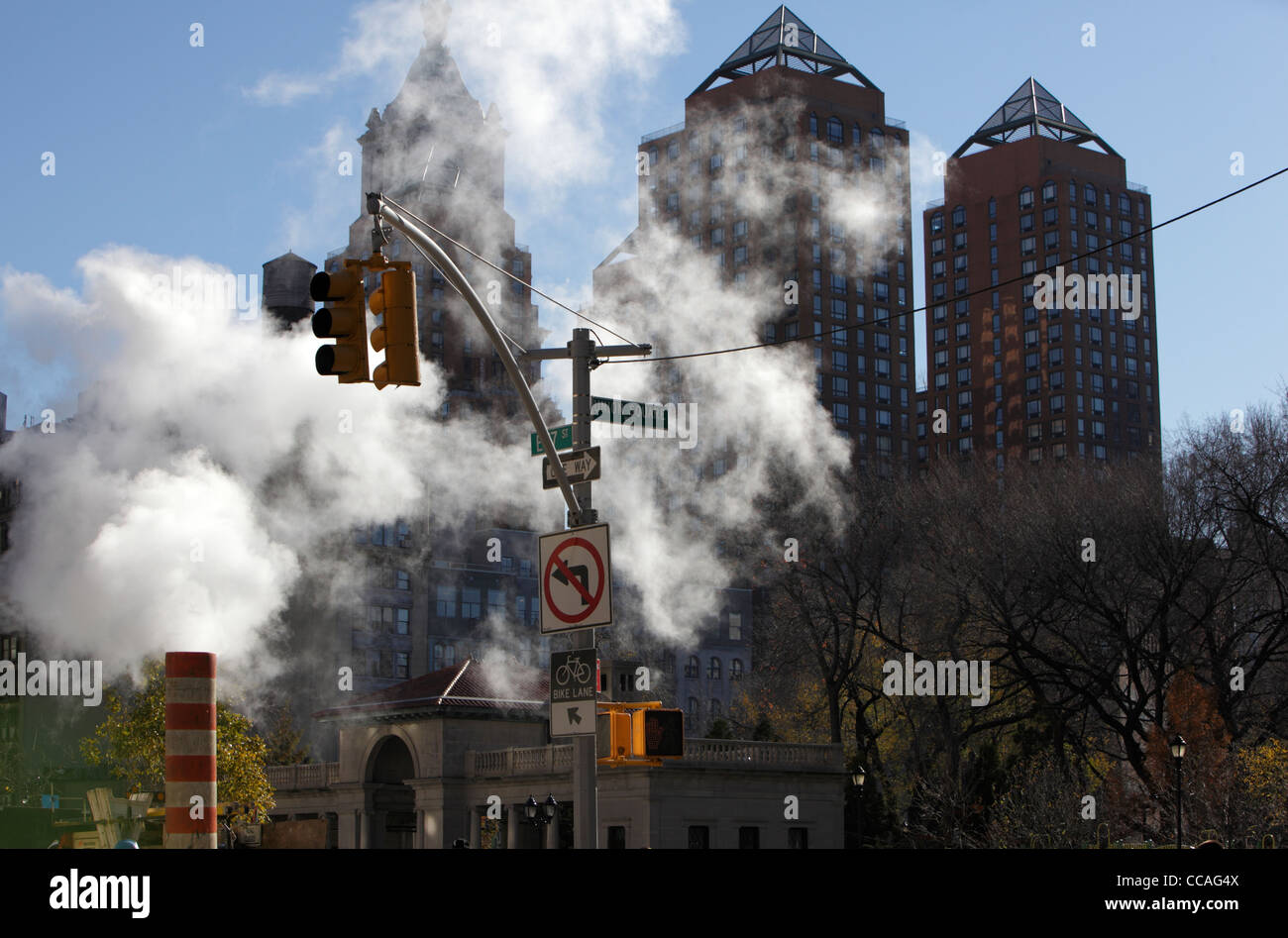 Steam pipe leaking steam at union square in New York City - Stock Image