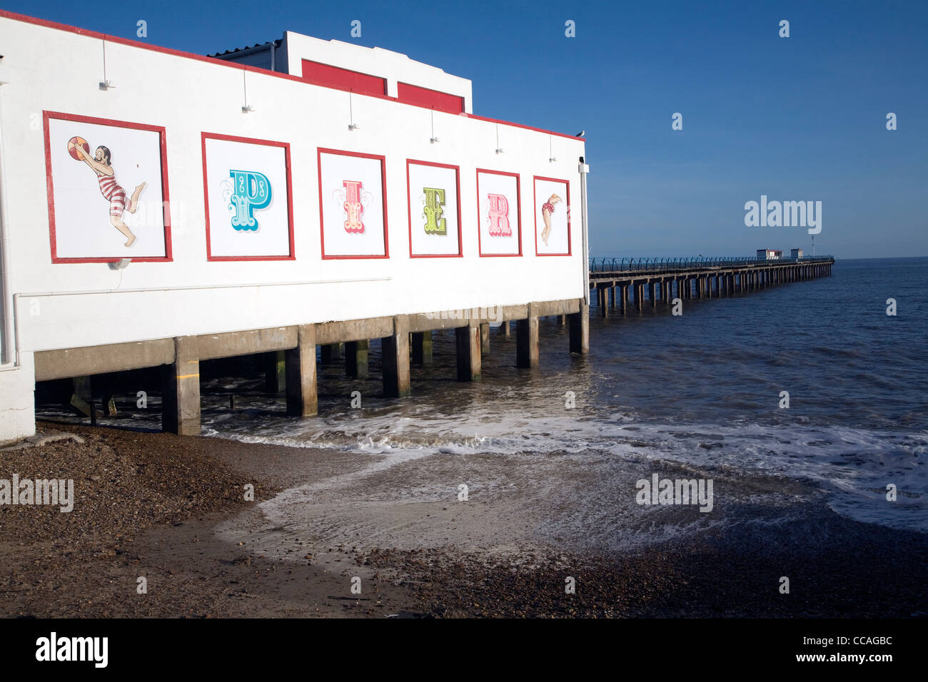 Felixstowe pier seaside Suffolk - Stock Image