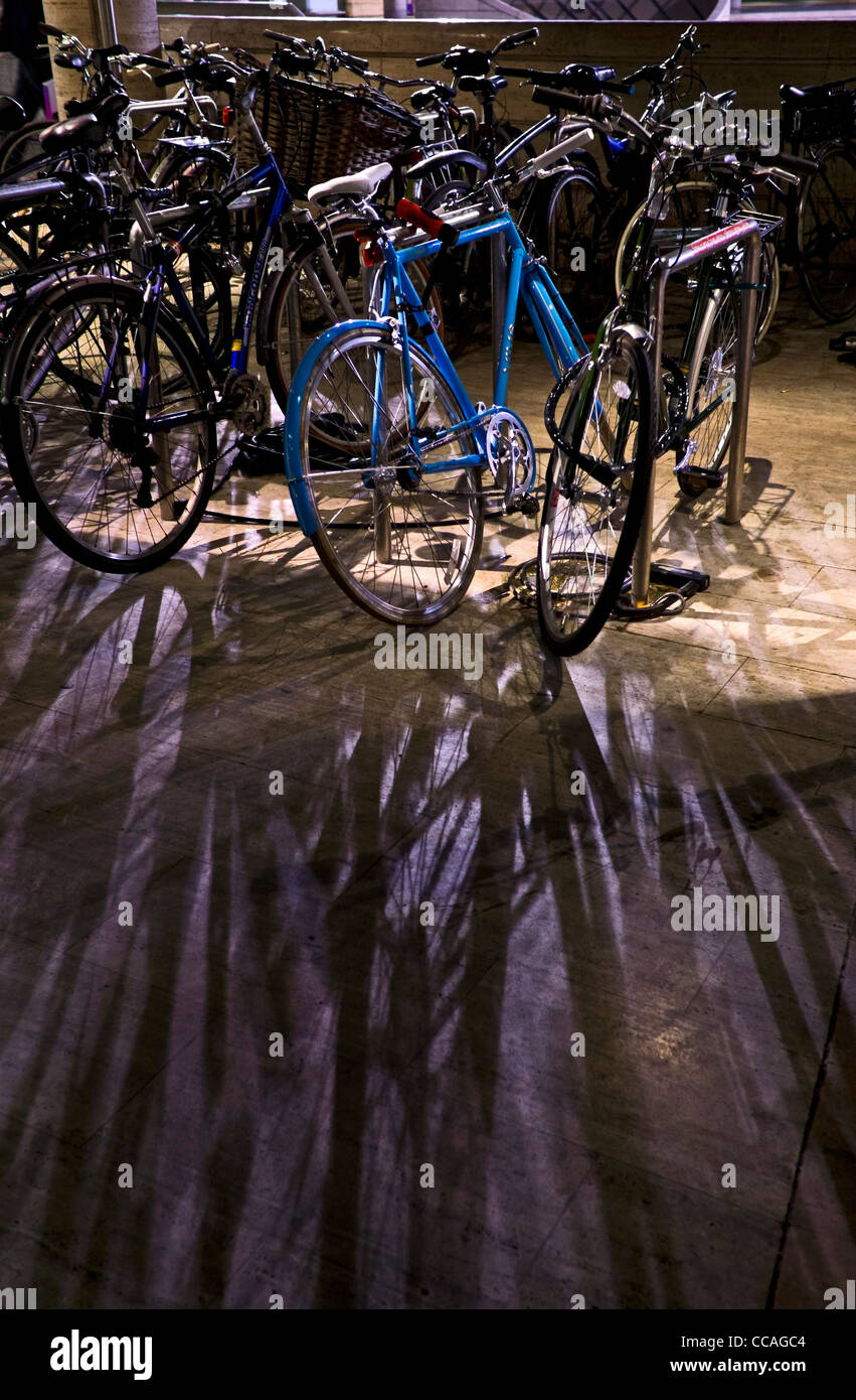 Back-lit Bicycles in Broadgate - Stock Image