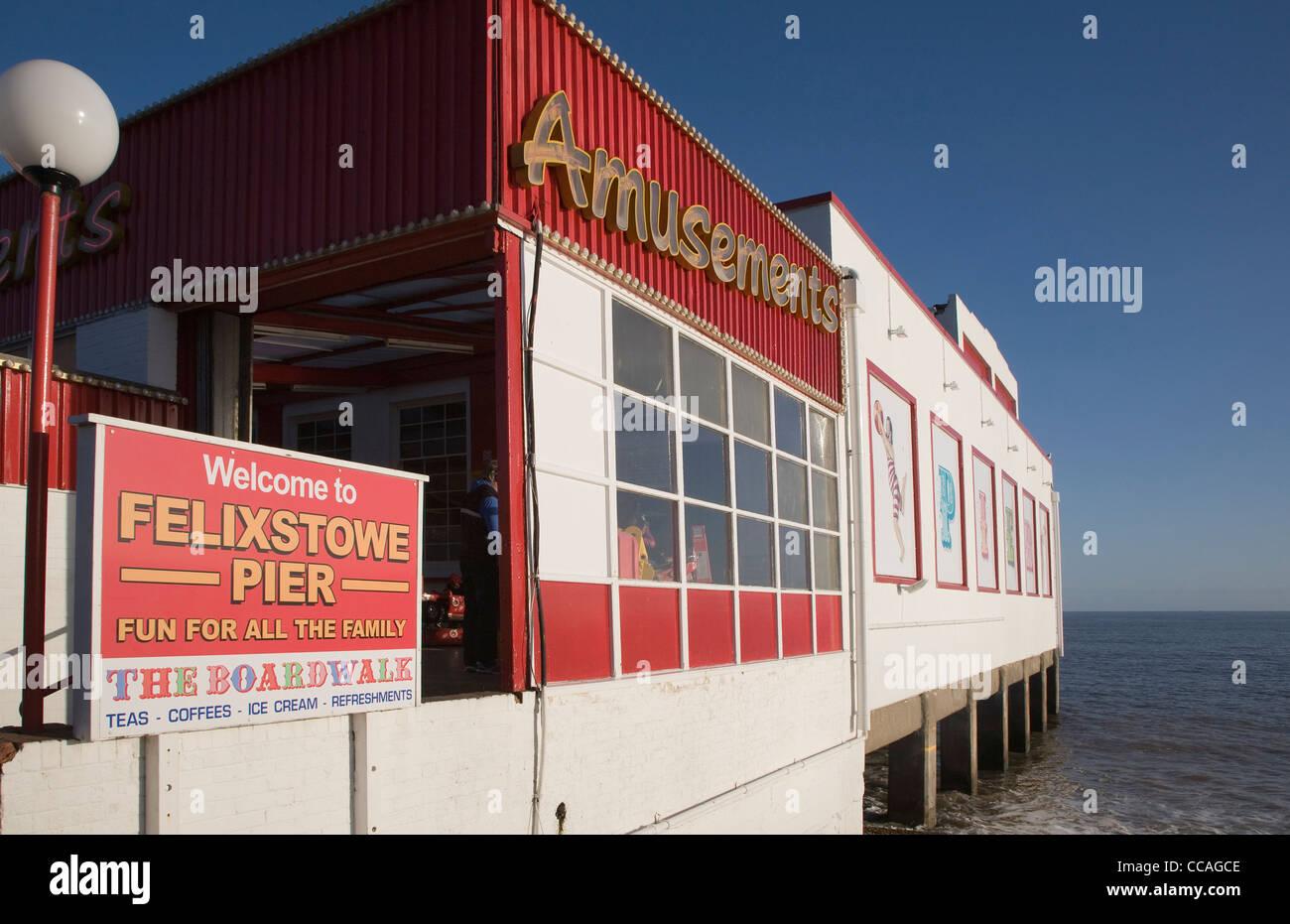 Felixstowe pier seaside amusements Suffolk - Stock Image