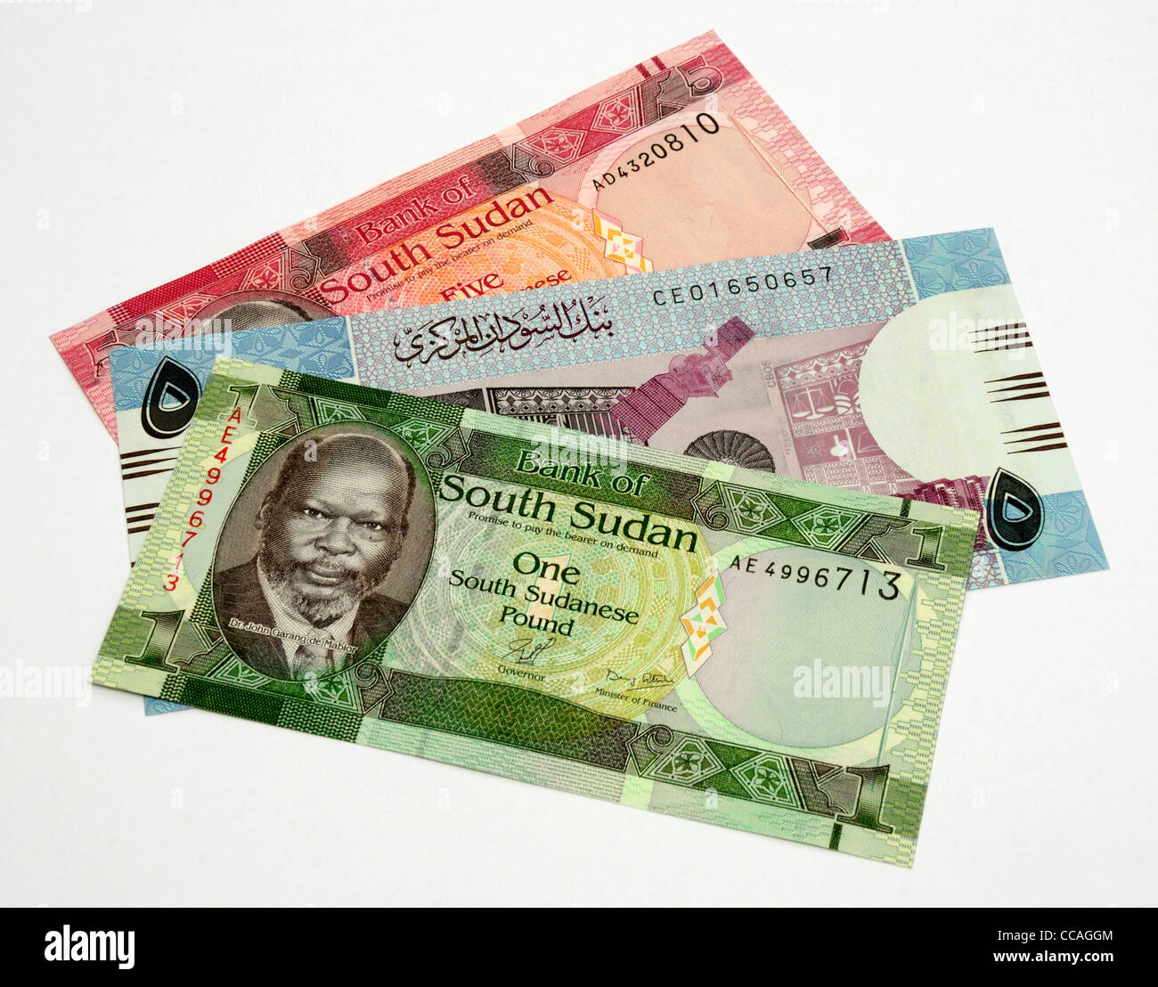 North and South Sudan Currency. - Stock Image