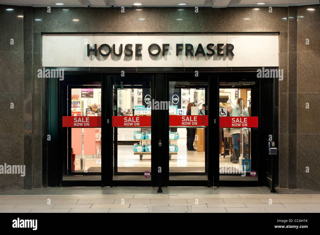 The entrance to the department store House of Fraser (aka kendals) on Deansgate, Manchester, UK. (Editorial use - Stock Image