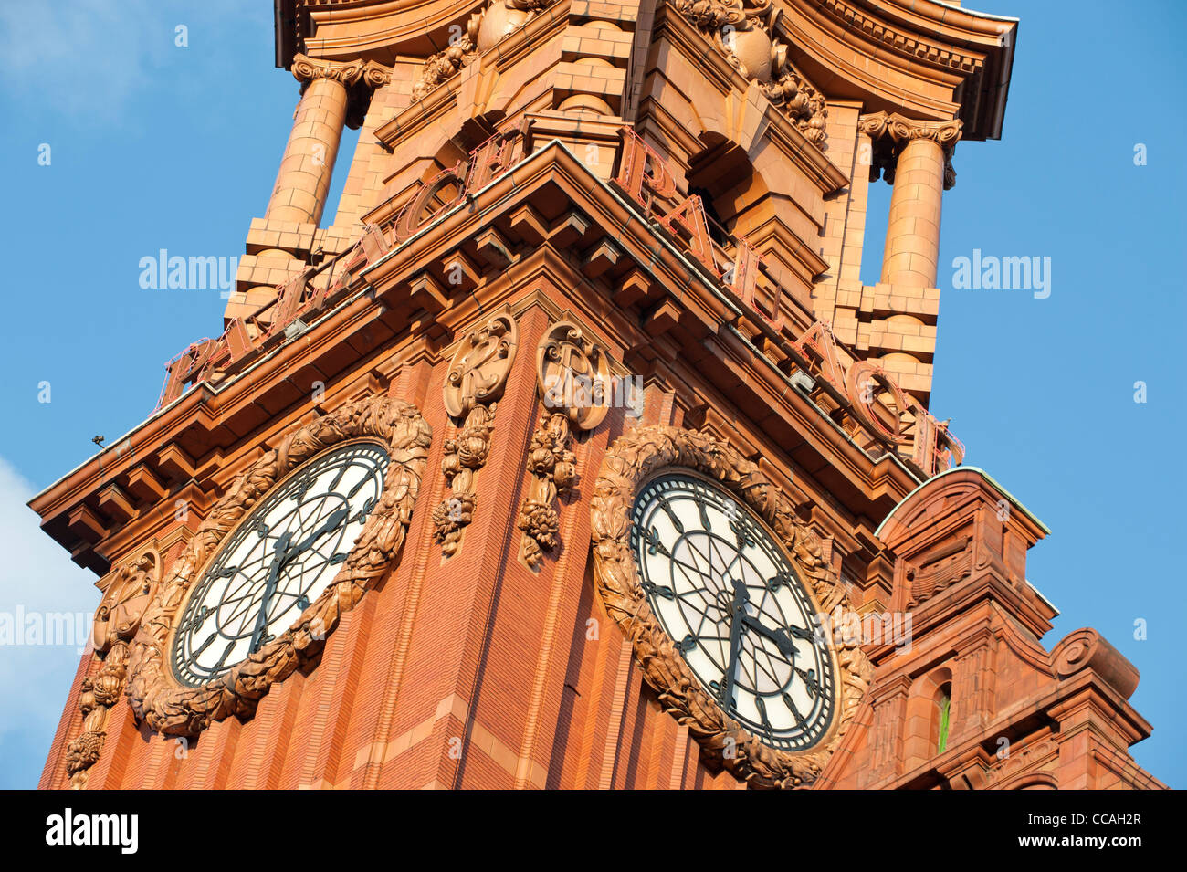 The clock tower of the Eclectic Baroque Palace Hotel, Oxford Road, Manchester. - Stock Image