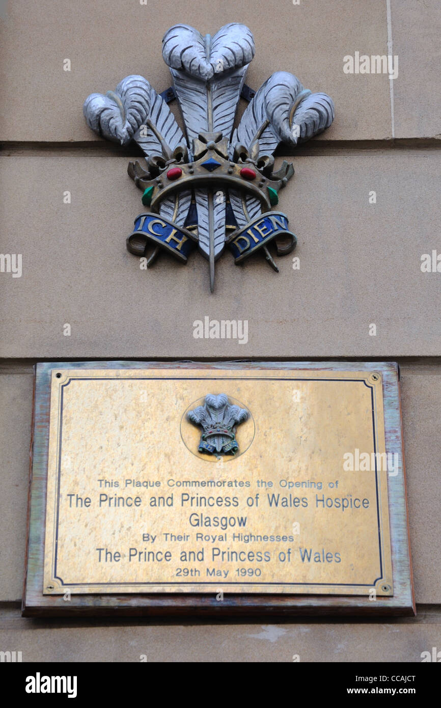 Prince and Princess of Wales Hospice dedication plaque Stock Photo
