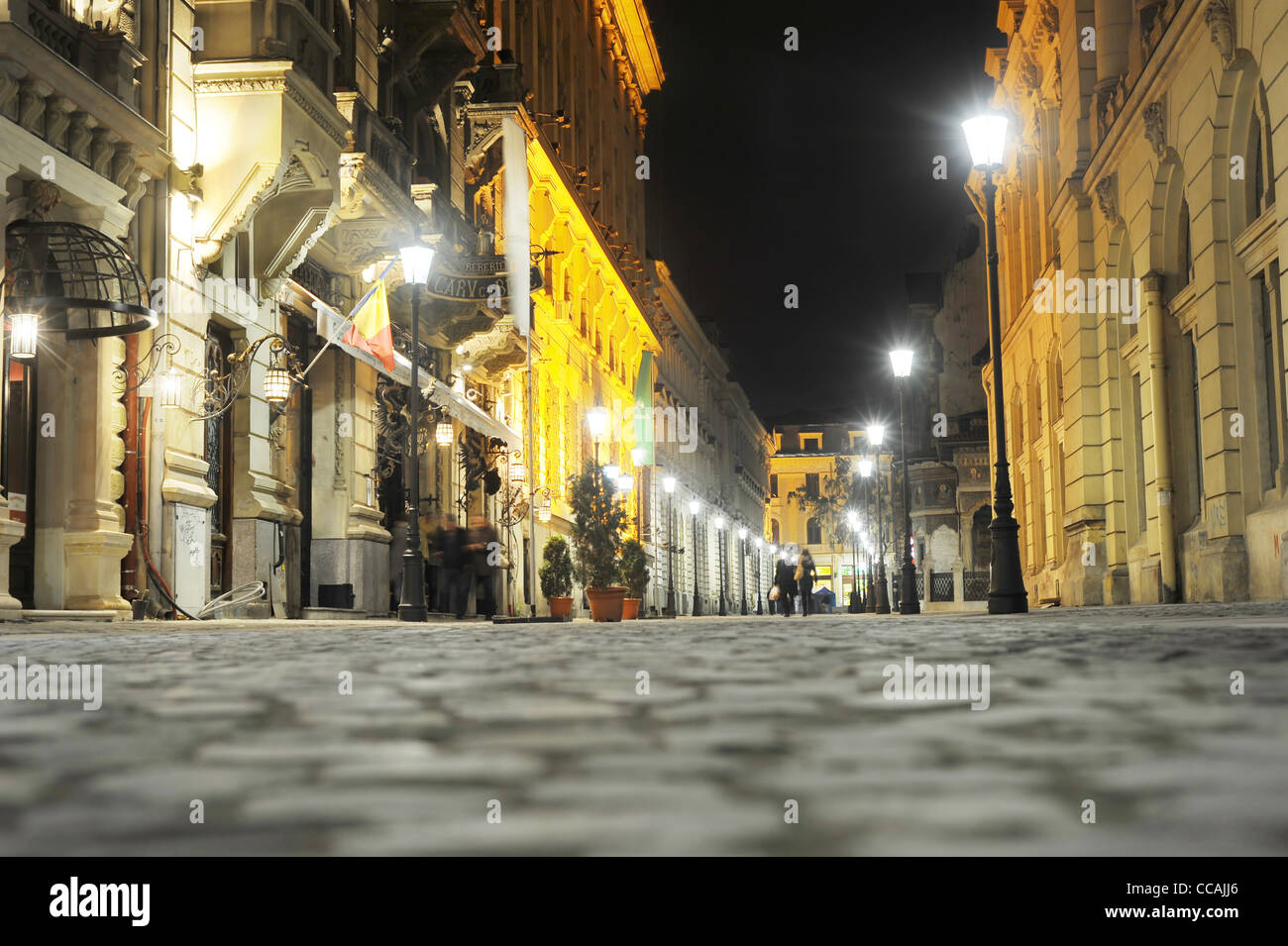 Old City of Bucharest in the night.The area is historic for this is where Bucharest was founded in the 1300s. - Stock Image