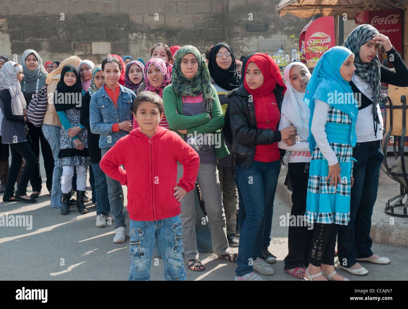 Schoolchildren visiting the Citadel in Cairo - Stock Image
