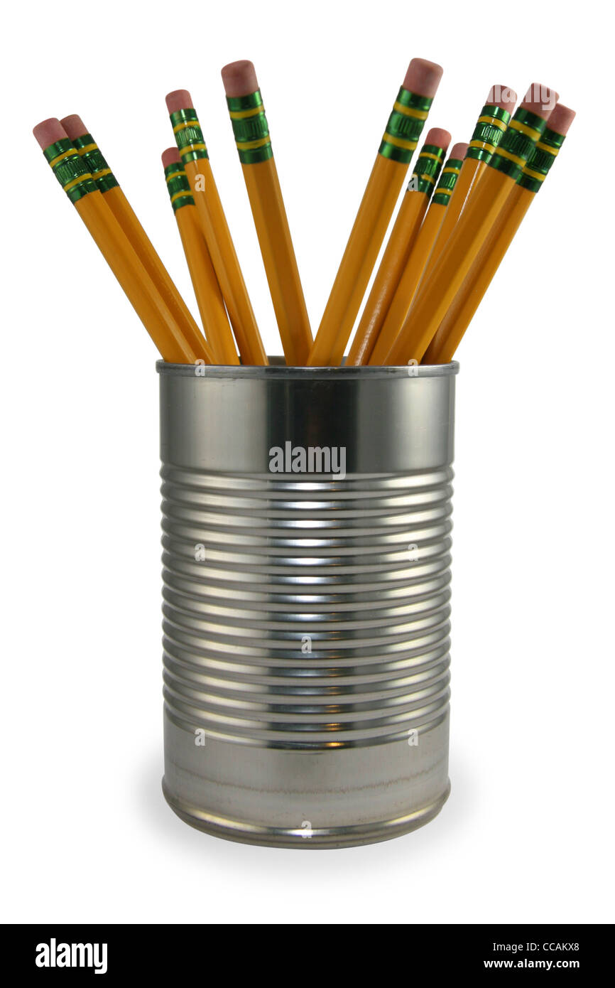 Pencils in a recycled tin can pencil holder. - Stock Image