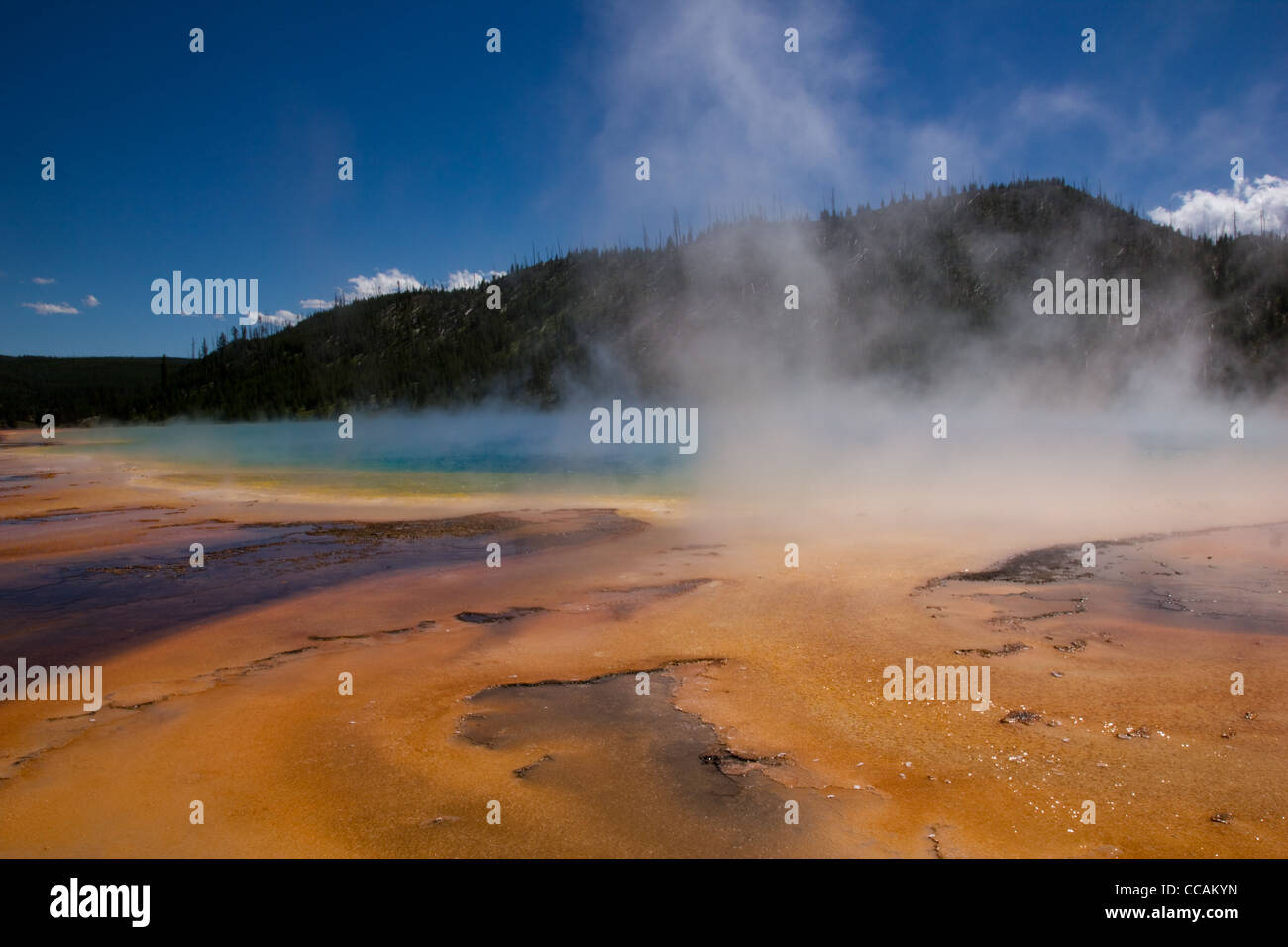 The Prismatic Spring located in Yellowstone National Park. - Stock Image
