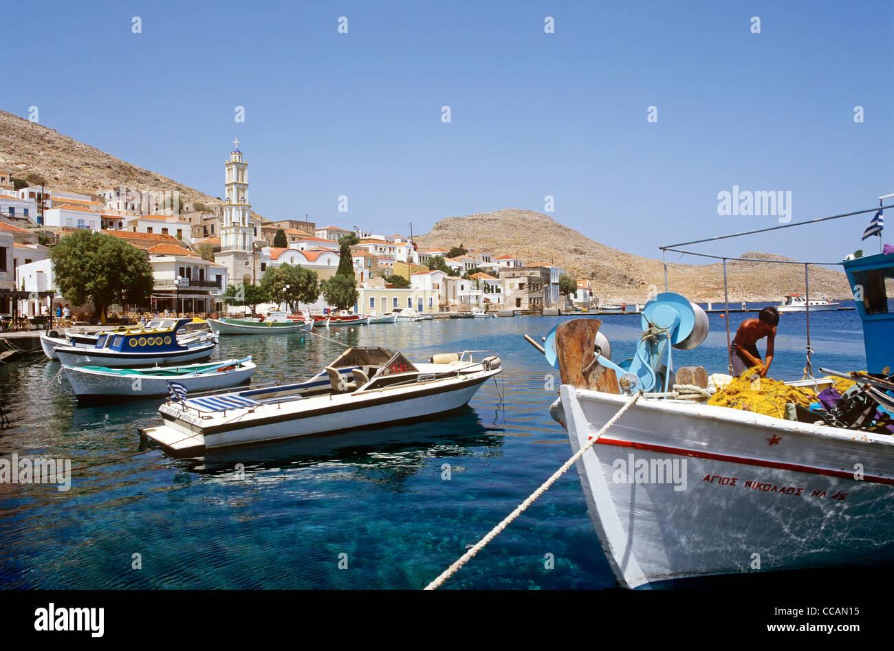 The Harbour Halki Greek Islands Greece - Stock Image