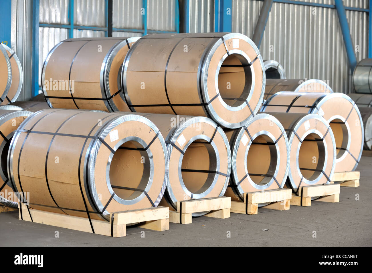 packed rolls of steel sheet Stock Photo