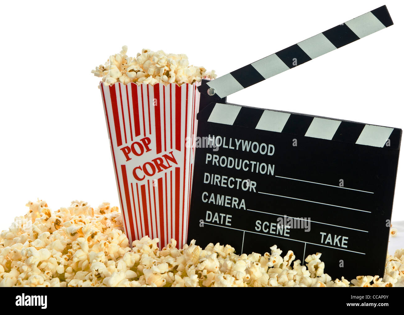 Movie Clapper Board in popcorn isolated on white - Stock Image