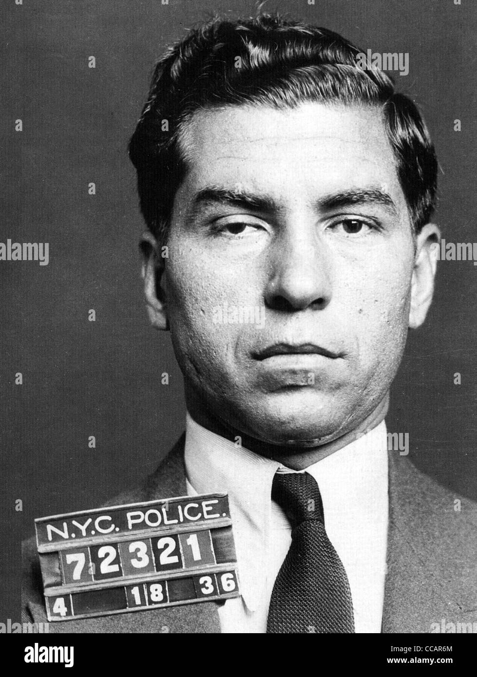 CHARLIE 'LUCKY'  LUCIANO (1897-1962) Sicilian-born US mobster  photographed by the NYPD on 18 April 1936 - Stock Image