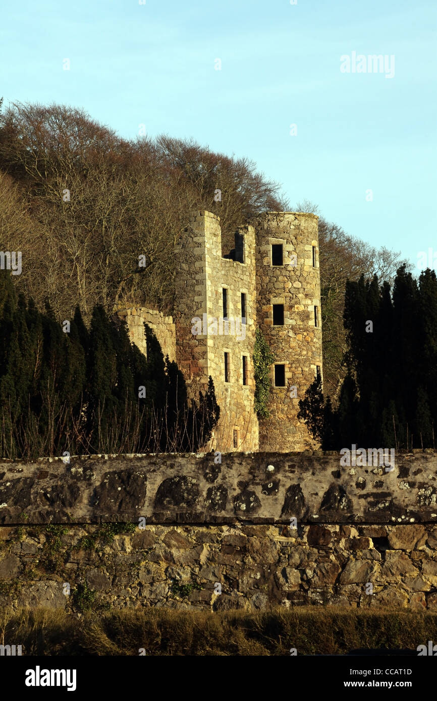 The ruin of Ellon Castle also known as Ardgeith or Ardgight Castle in the village of Ellon,  Aberdeenshire, Scotland, - Stock Image