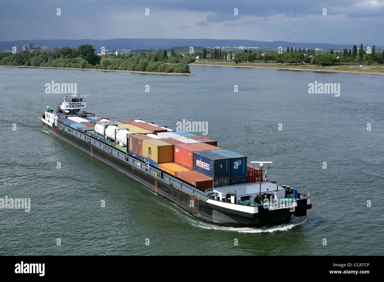 Container ship on the River Rhine at Mainz, Germany Stock