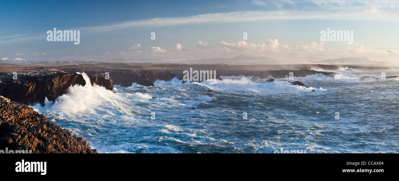 Storm waves crashing against the cliffs of Belmullet, County Mayo, Ireland. - Stock Image