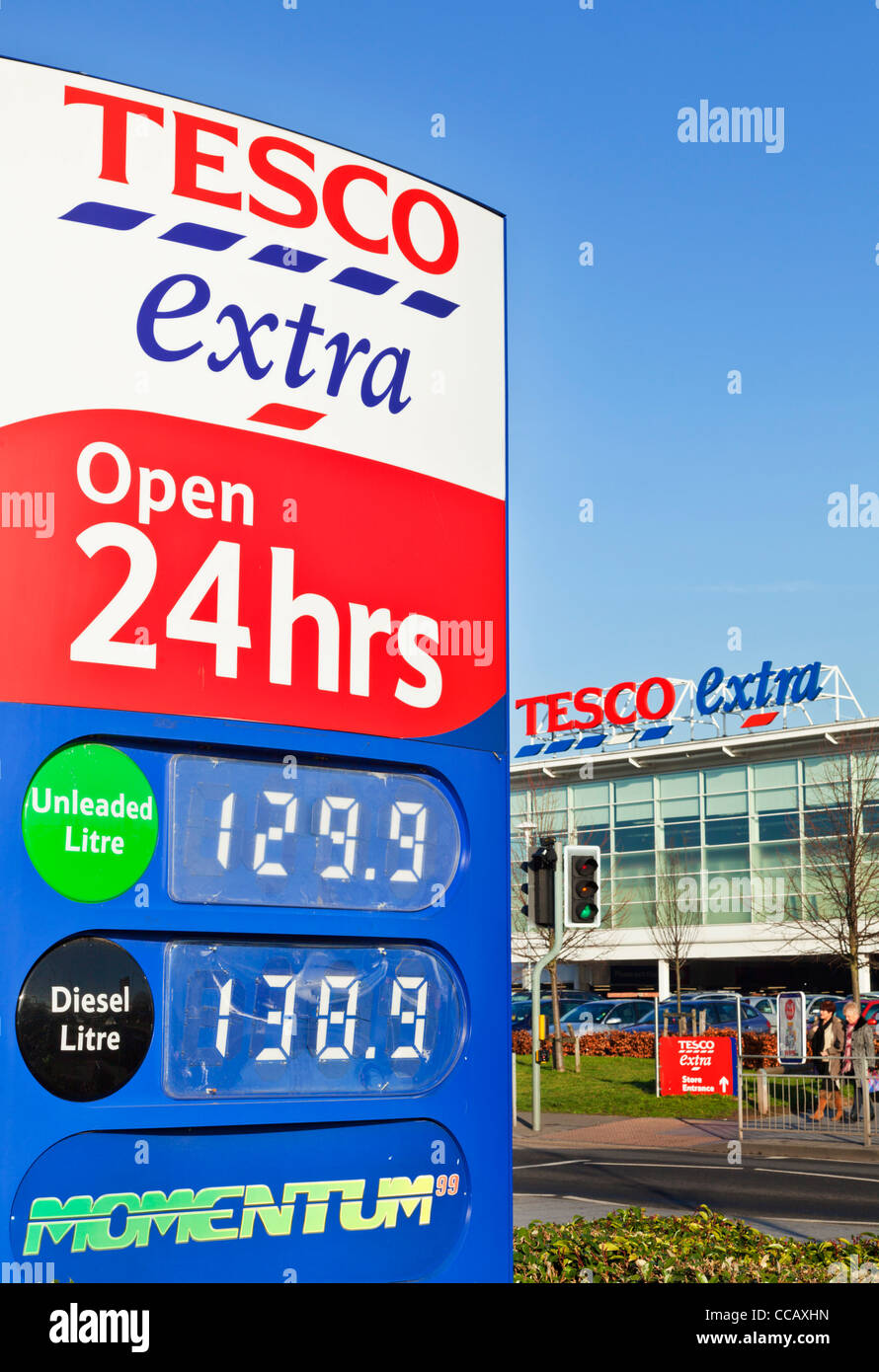 Tesco extra open 24 hours petrol station sign long eaton town centre derbyshire England UK GB EU Europe - Stock Image