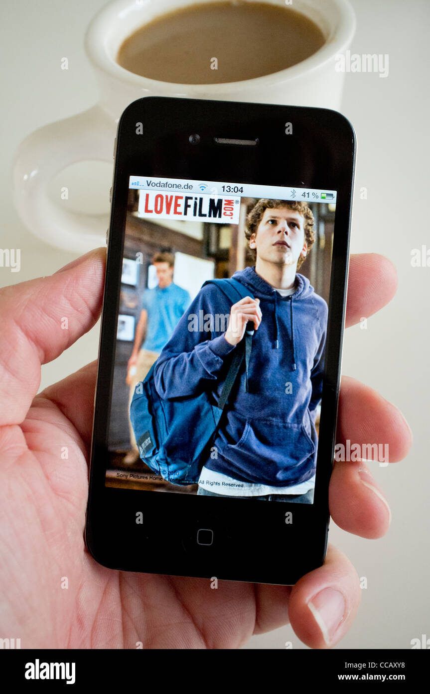 Detail from Lovefilm.com Movie streaming website using application on an iPhone 4g smart phone - Stock Image