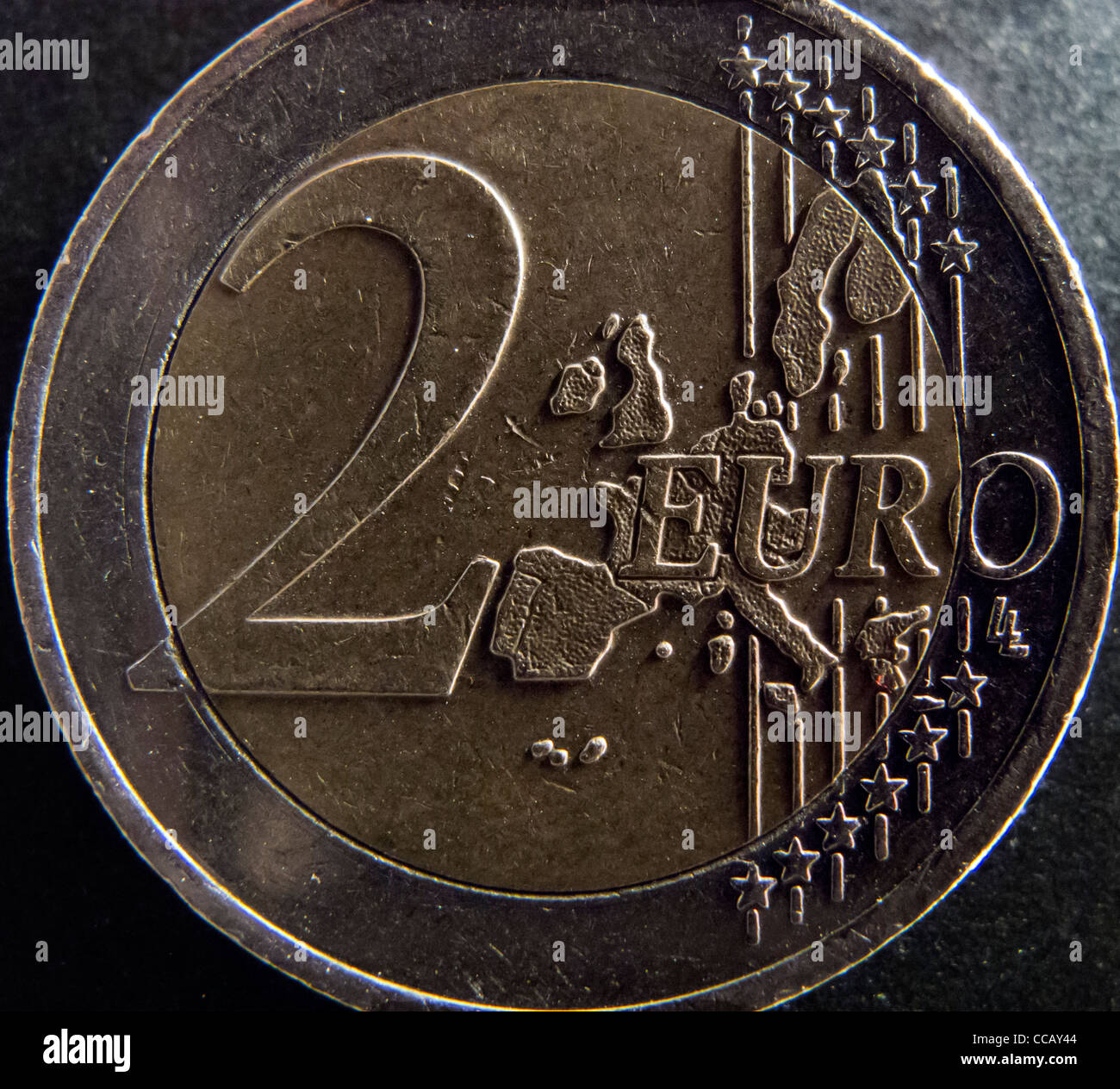 Close-up of 2 Euro coin - Stock Image