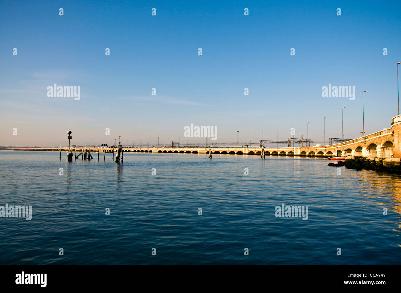 Road and rail causeway connecting Venice with mainland Italy Ponte Della Liberta - Stock Image