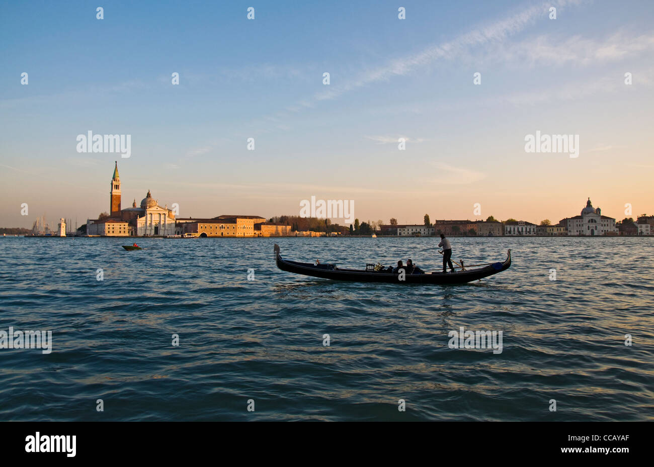 Gondola on Canale di San Marco in evening light - Stock Image