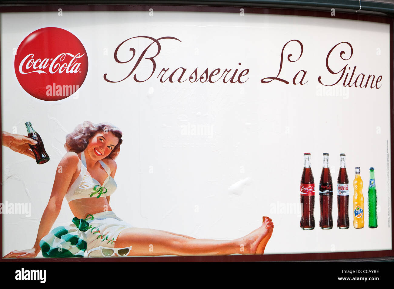 vintage advertising for coca cola on the seafront Toulon France - Stock Image