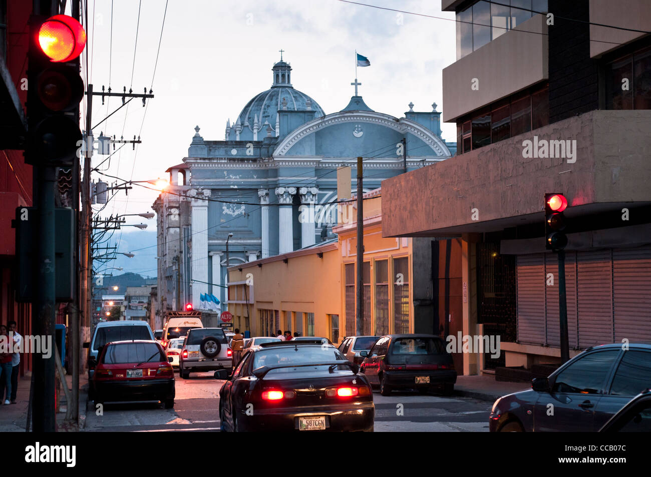 Sunset in the historical center of Guatemala City, Guatemala, Central America. - Stock Image