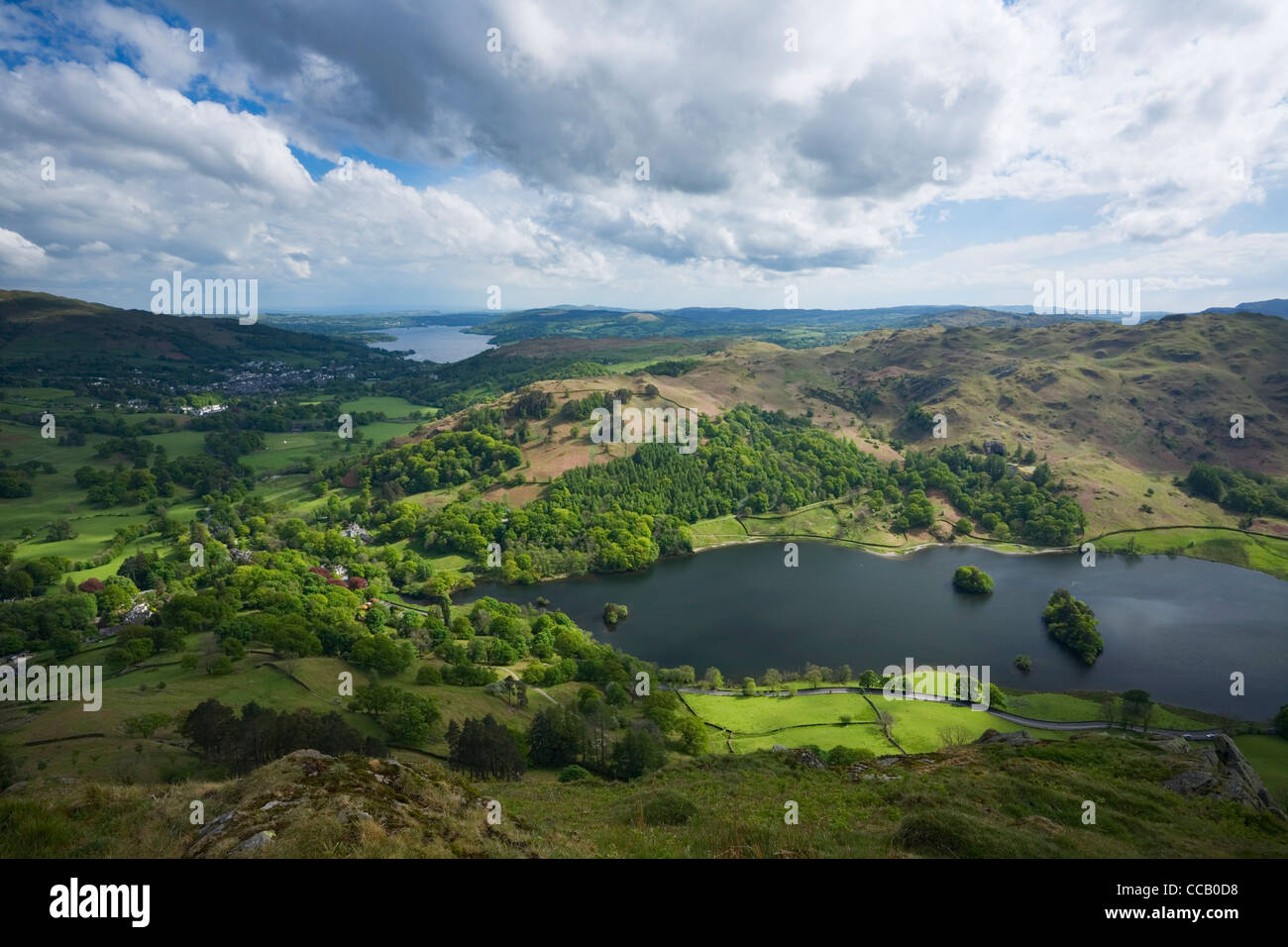 Rydal Water and Windermere in the Distance from Nab Scar. Lake District National Park. Cumbria. England. UK. - Stock Image