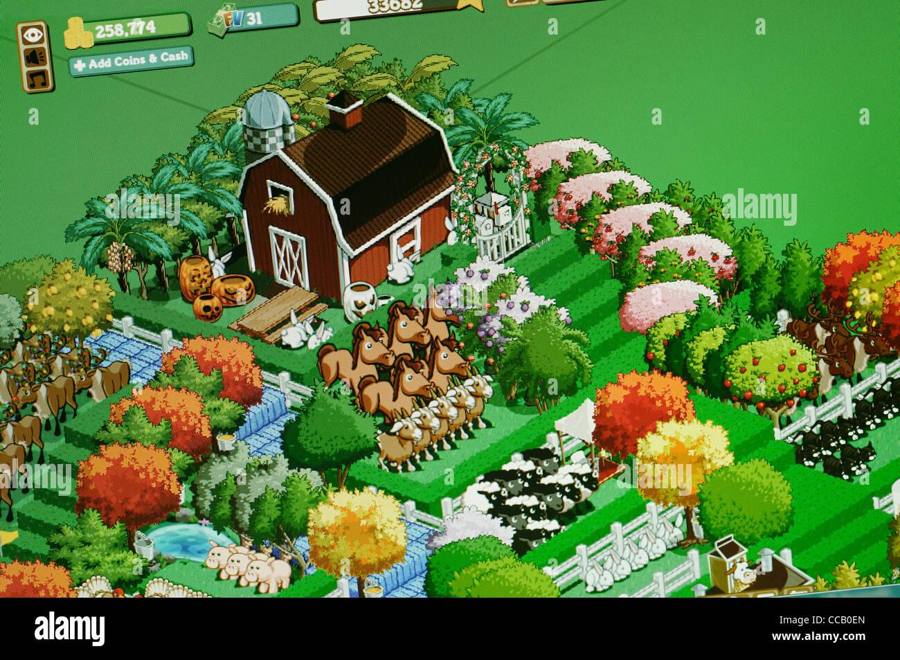 Farmville Screenshot. The Farming Simulation Social Network Game by Zynga. - Stock Image