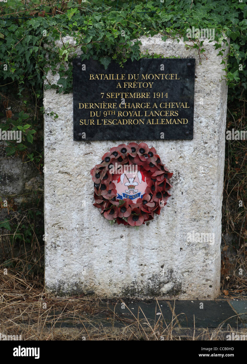 Memorial to the charge of a squadron of the 9th Lancers against the Prussian Dragoons at Moncel on the 7th September Stock Photo