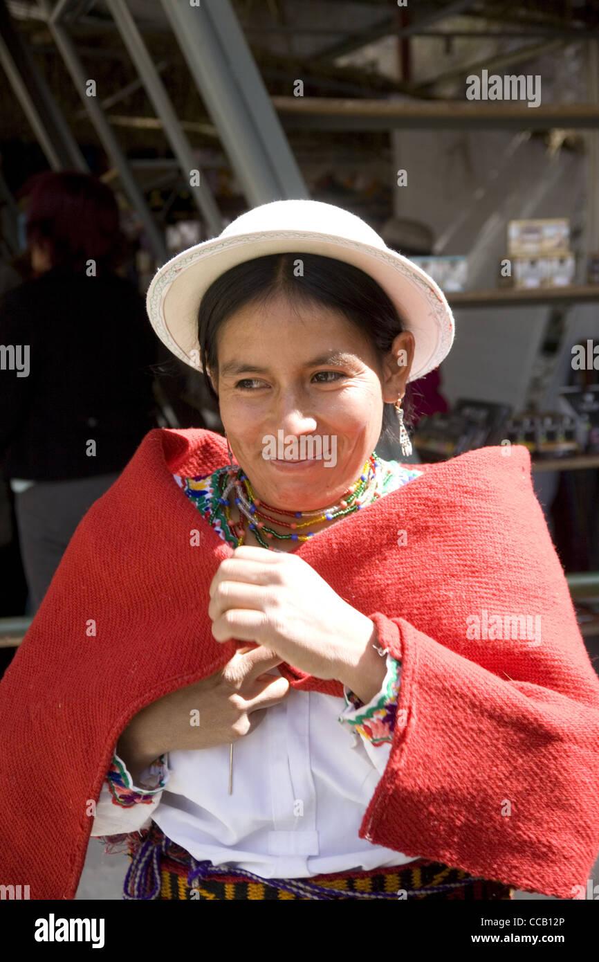 Ecuador Alausi  Kichwa woman of the Nizag community - Stock Image