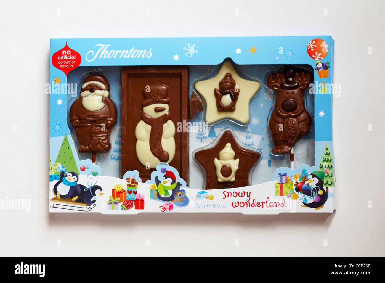 Box of Thorntons snowy wonderland chocolates isolated on white background - Stock Image