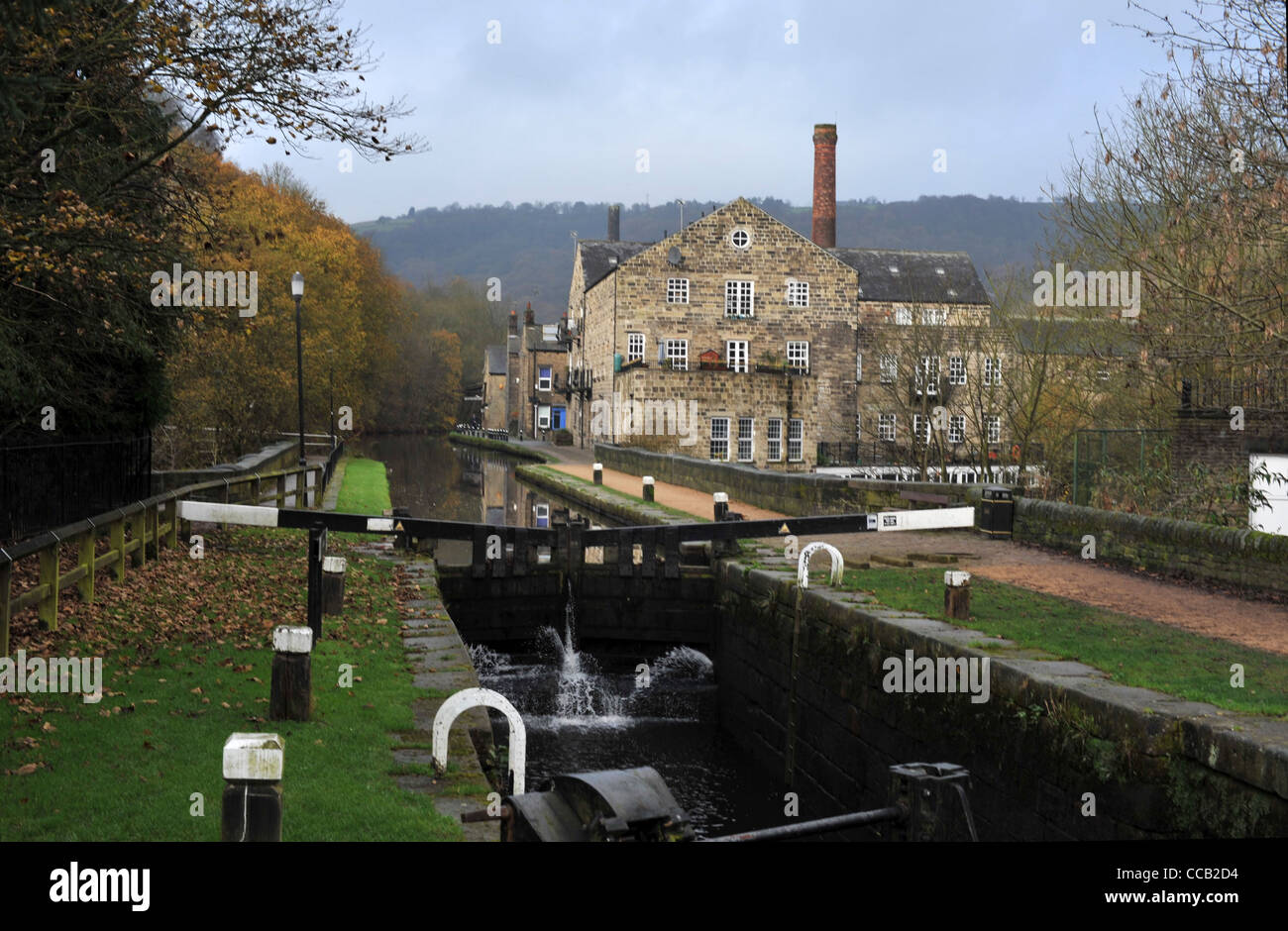 Rochdale canal at Hebden Bridge - Stock Image