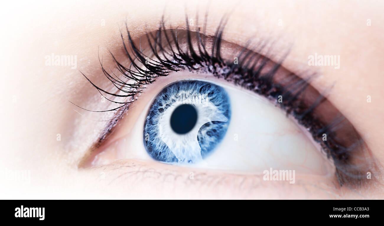 Beautiful abstract blue eye, extreme closeup - Stock Image