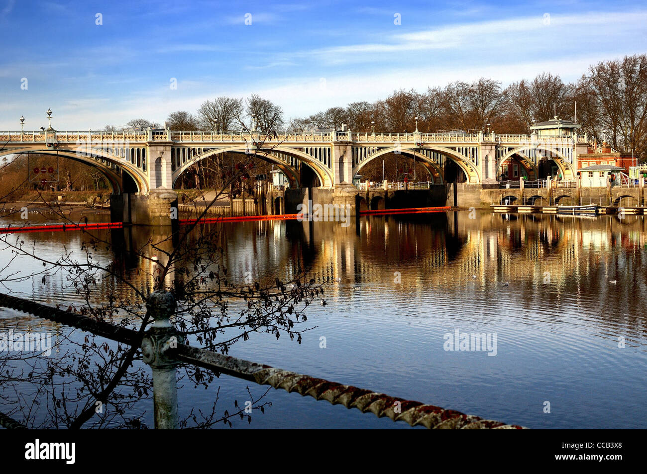 Richmond on Thames lock and weir,England Stock Photo