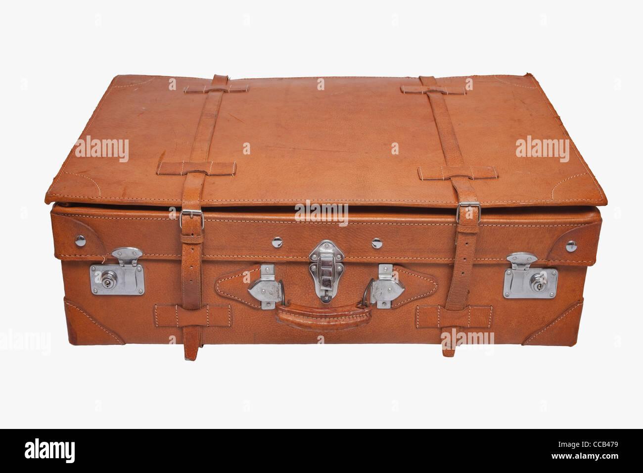 Detailansicht eines alten braunen Lederkoffers   Detail photo of a old brown leather suitcase - Stock Image
