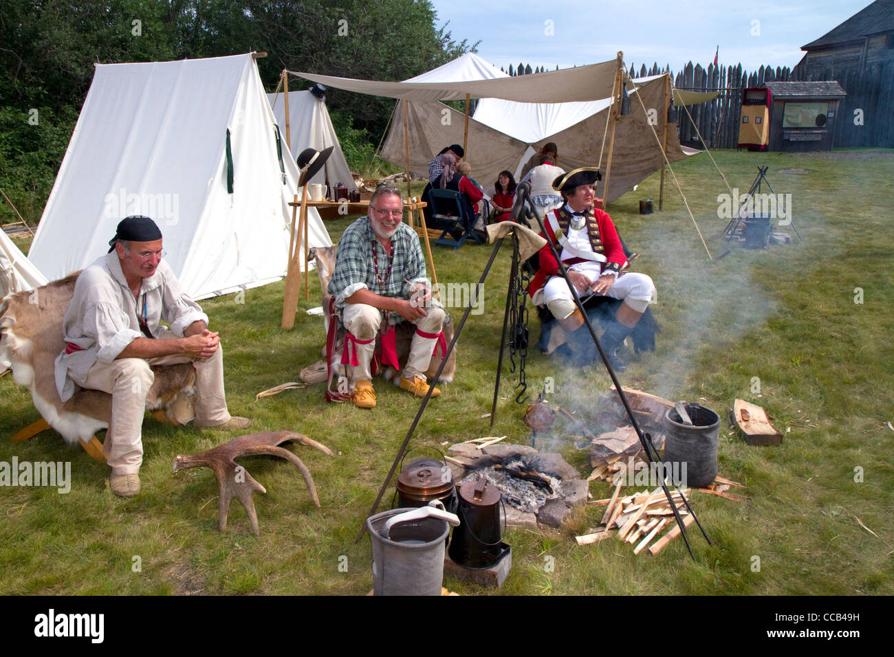 Rendezvous re-enactment at the Grand Portage National Monument on the north shore of Lake Superior in Minnesota, - Stock Image