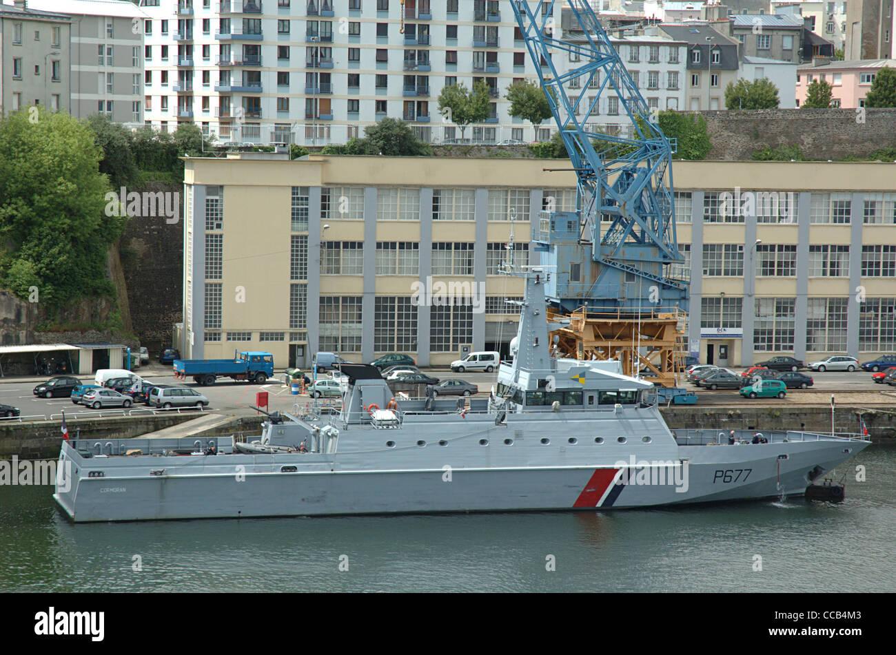 Cormoran (P677), a French navy ship. Brest, Finistère, Bretagne, France. - Stock Image