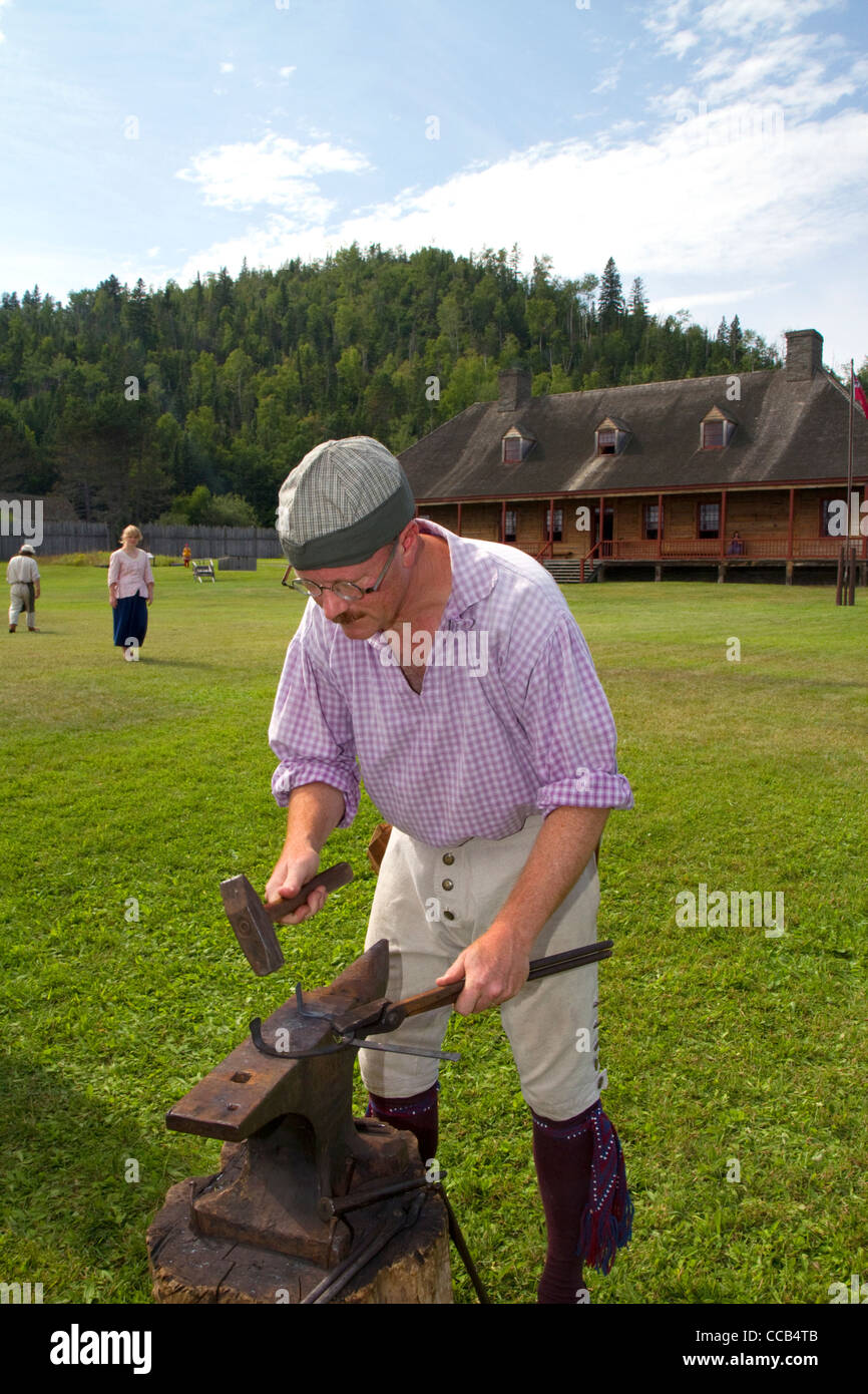 Rendezvous re-enactment at the Grand Portage National Monument on the north shore of Lake Superior, Minnesota, USA. - Stock Image