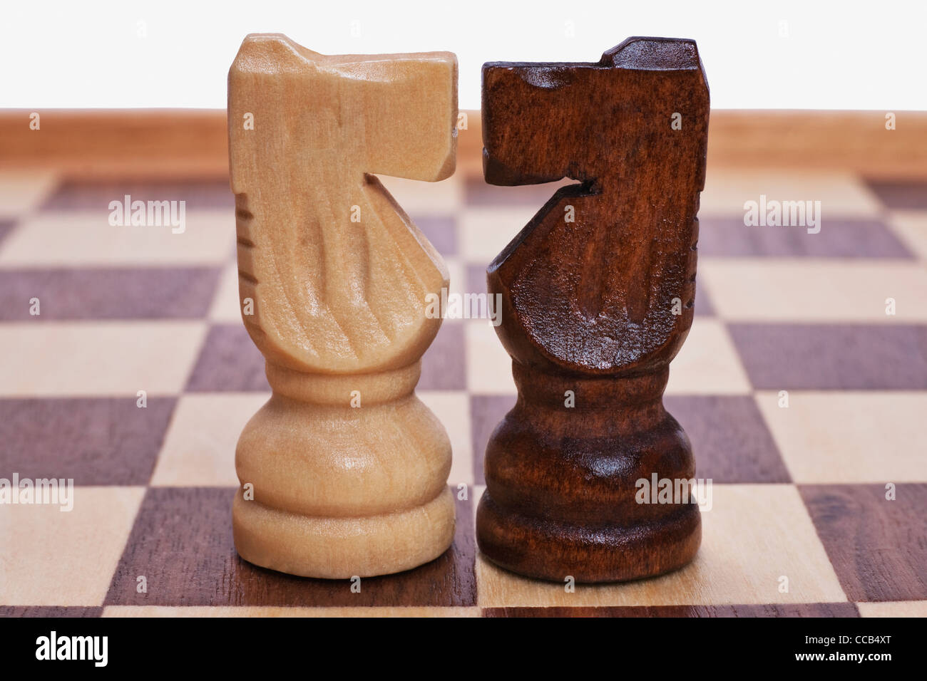 a chessboard, on it are a white and a black horse counterpart - Stock Image