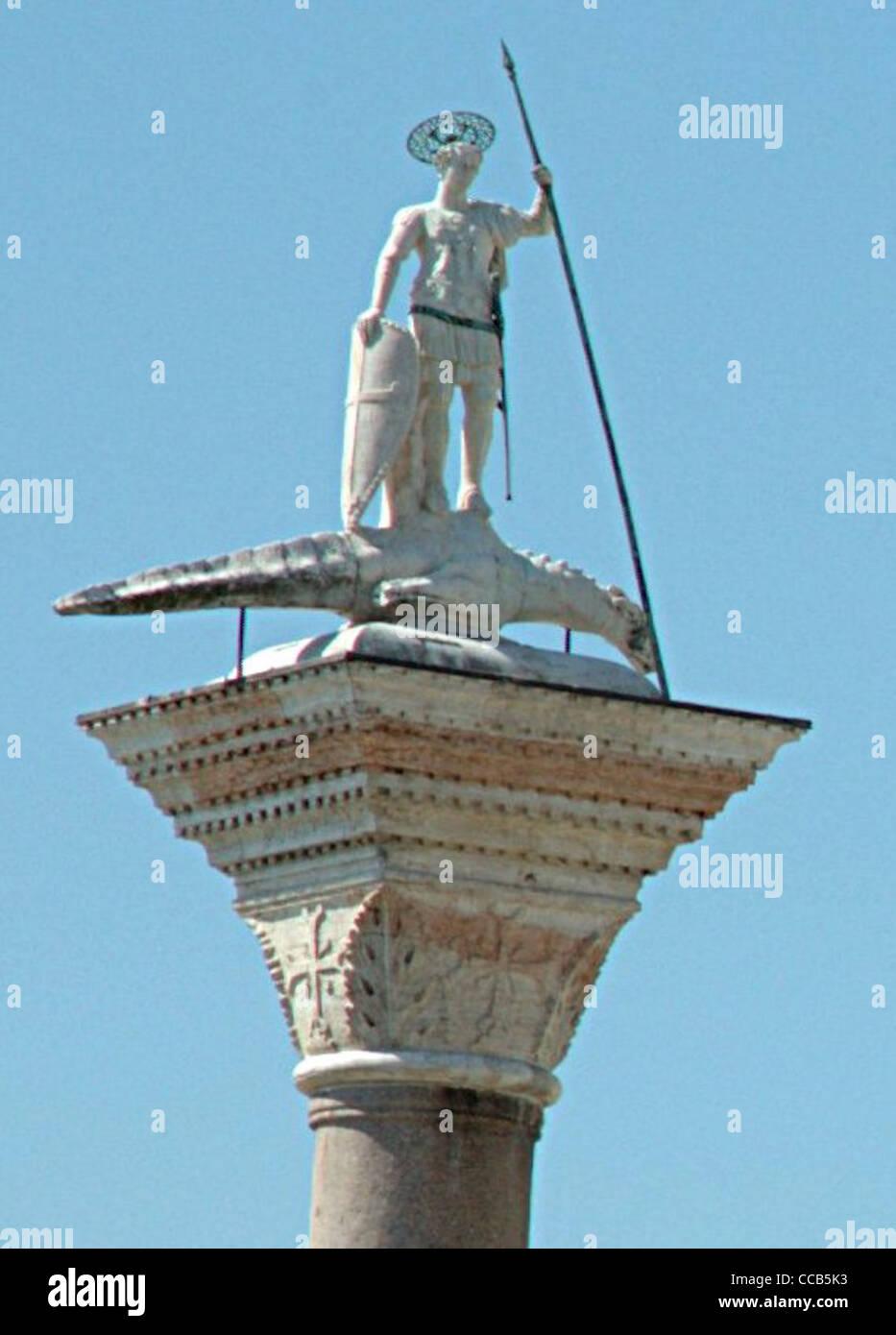 Statue of San Teodoro (Theodore) on a crocodile/drake. Venice, Italy. - Stock Image