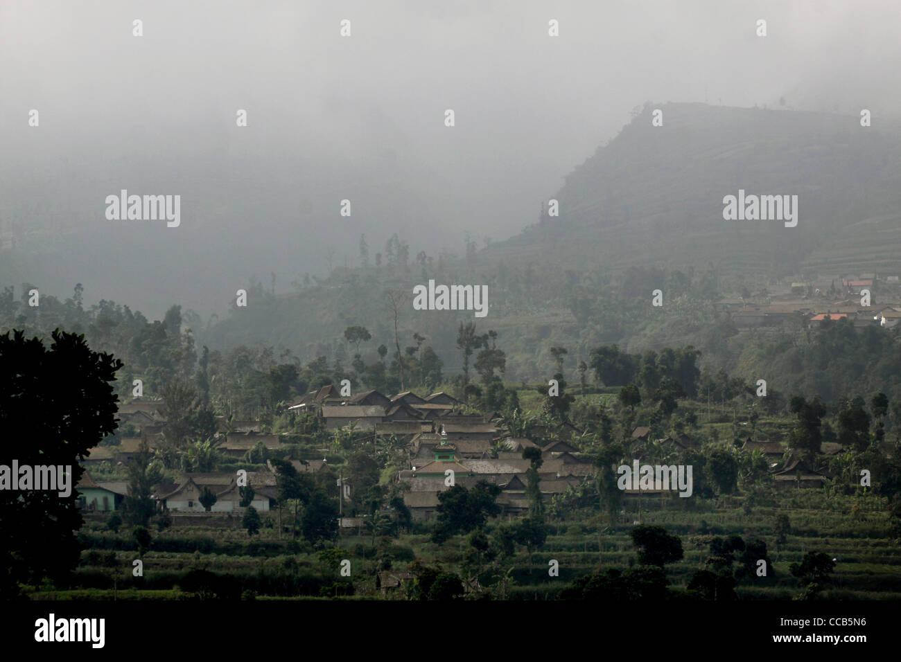 terraced farm fields village Mount Merapi Yogyakarta Indonesia - Stock Image