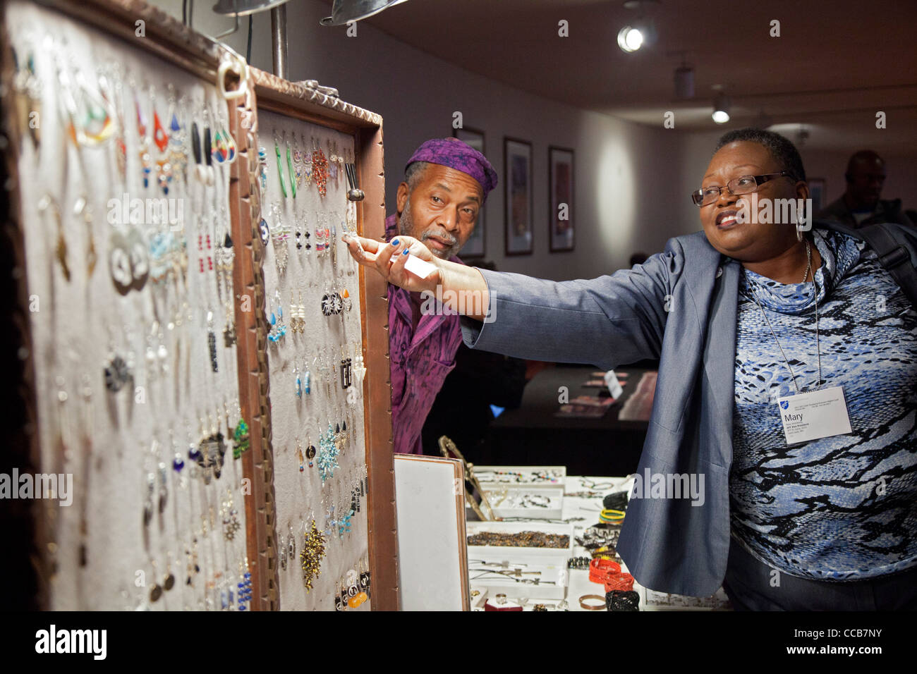 Vendor Sells Jewelry - Stock Image