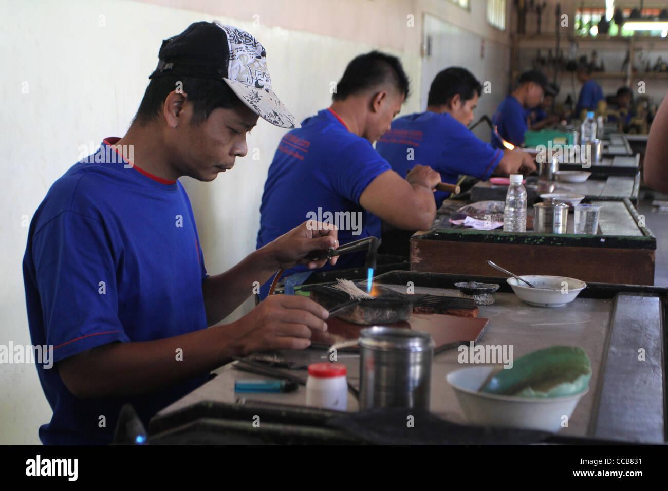 silver jewelry production Yogyakarta Indonesia - Stock Image