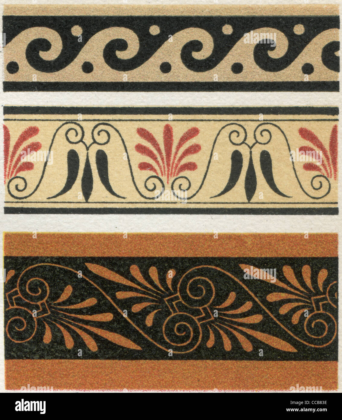 The ornament of ancient Greek vases. Publication of the book 'Meyers Konversations-Lexikon', Volume 7, Berlin, - Stock Image