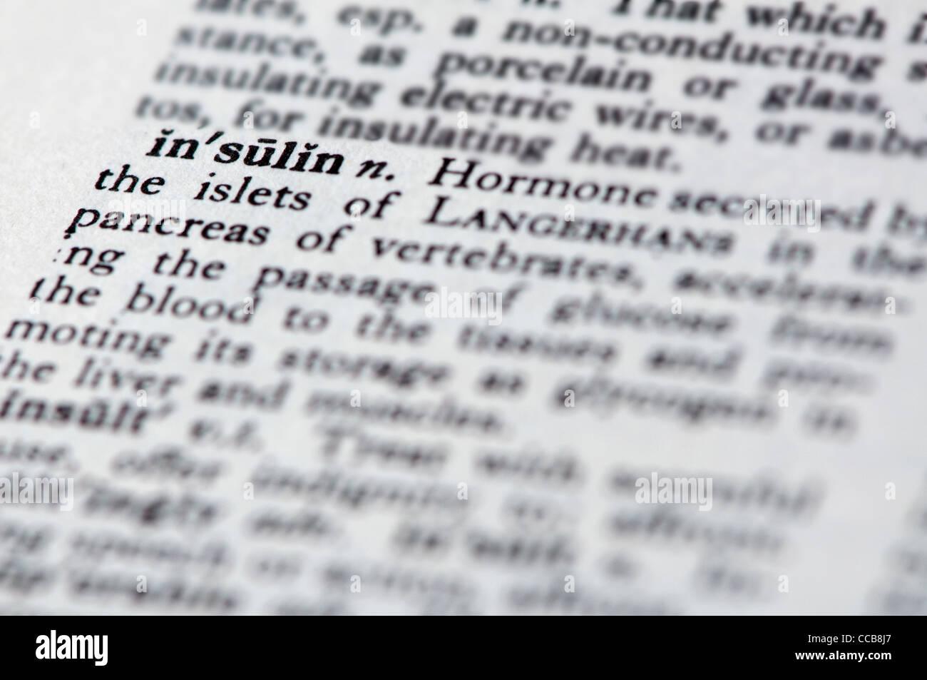 insulin a description in words - Stock Image