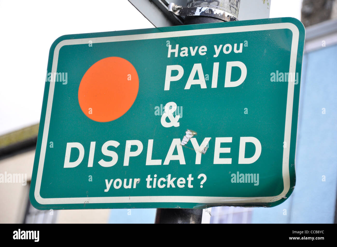 Pay and display car parking charges reminder sign. - Stock Image