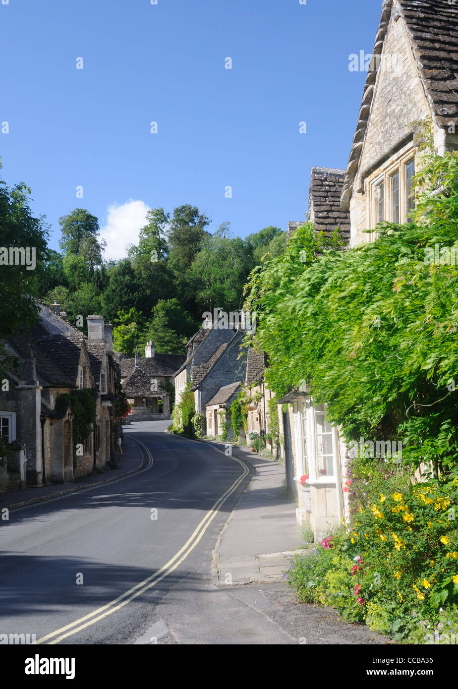 Water Street, in the picturesque village of Castle Combe, Wiltshire, England - Stock Image