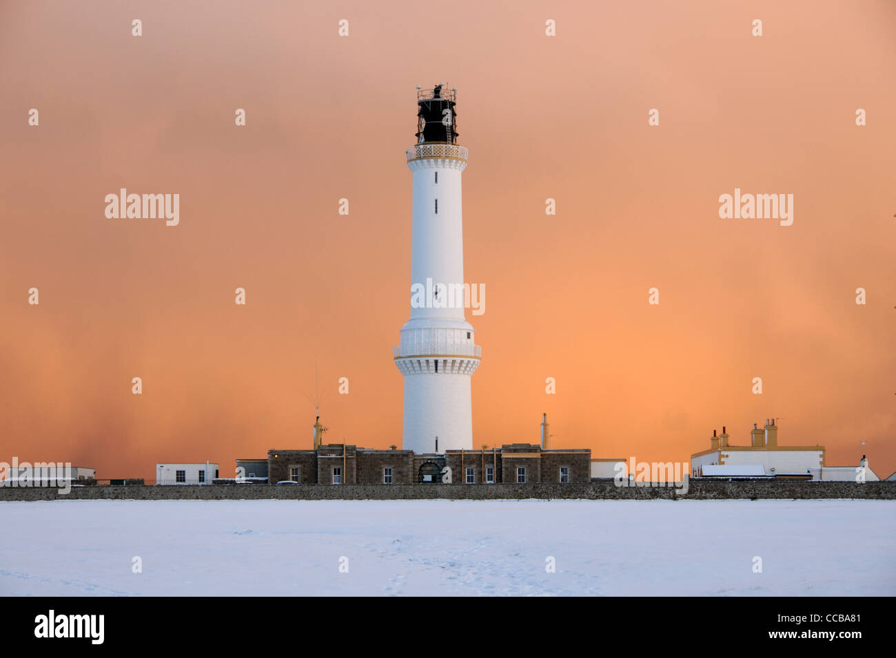 Girdle Ness Lighthouse in the snow, Aberdeen - Stock Image