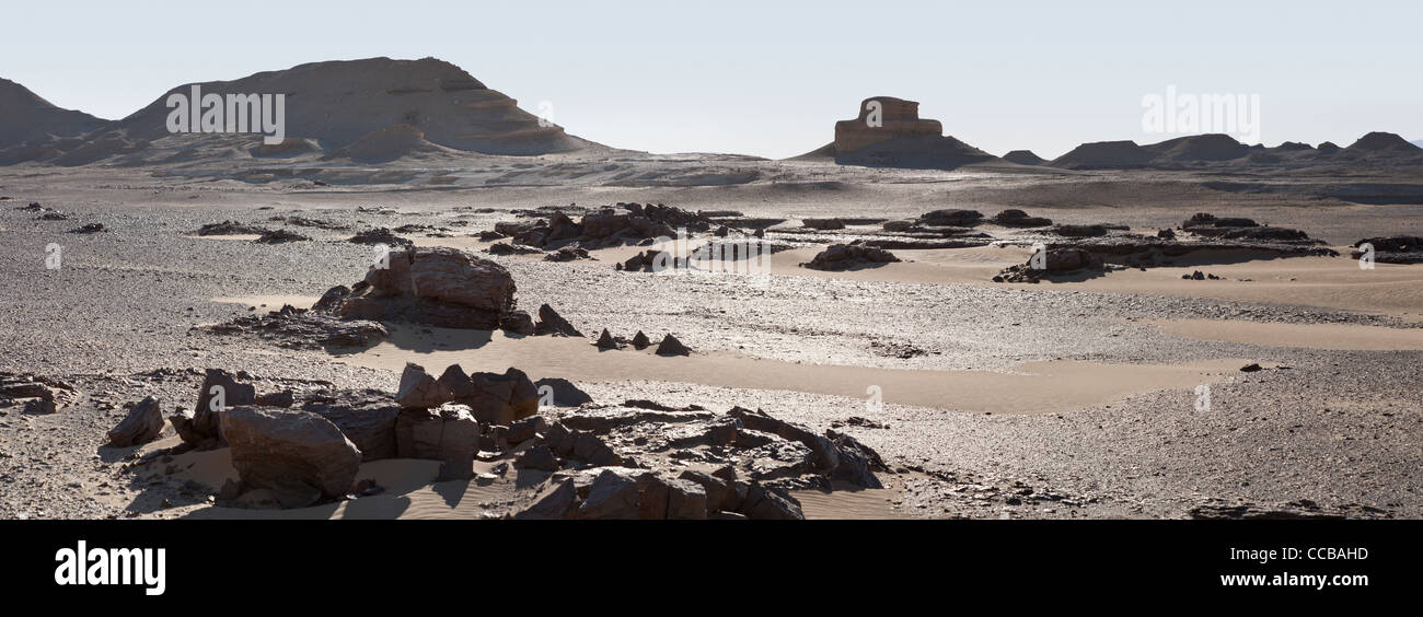 Panoramic shot of white limestone intrusion on edge of yardang field at sundown, Dakhla Oasis Egypt  Africa - Stock Image